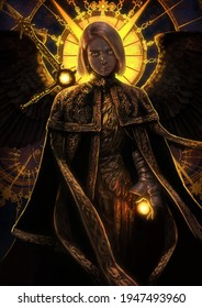 A beautiful girl with a stained-glass sun behind, she is a dark angel, with a huge sword behind her back, she is wearing golden black robes. 2d illustration.