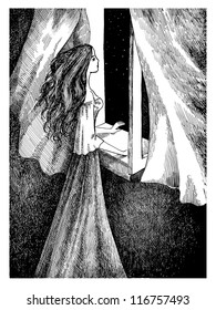 Beautiful girl is standing in front of the opened window and enjoying the starry night sky landscape. Ink pen illustration