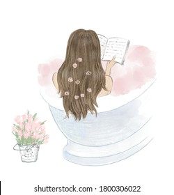 Beautiful girl taking a bath and reading a book, diary. Hand drawn illustration