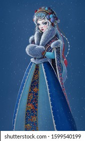 Beautiful girl wearing long blue coat with white fur. Snow Maiden (Snegurochka), traditional Slavic Christmas character on dark blue background.