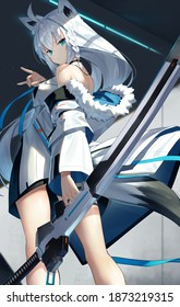 beautiful girl with white hair holding a sword