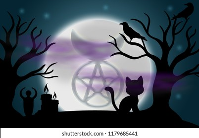 Beautiful glowing moon and stars with an image of the Horned God in the centre, surrounded by silhouetted trees, ravens, candles, a goddess statue, a cat, and fog.