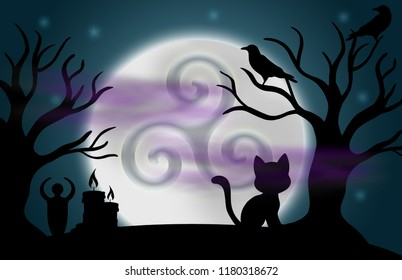 Beautiful glowing moon and stars with an image of the triple spiral in the centre, surrounded by silhouetted trees, ravens, candles, a goddess statue, a cat, and fog.