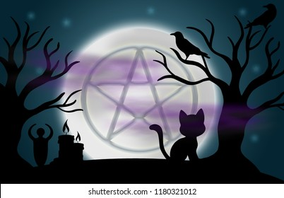 Beautiful glowing moon and stars with an image of a pentacle in the centre, surrounded by silhouetted trees, ravens, candles, a goddess statue, a cat, and fog.