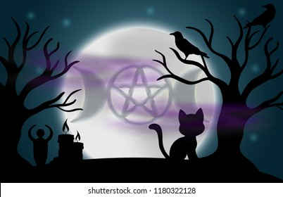 Beautiful glowing moon and stars with an image of the Goddess symbol in the centre, surrounded by silhouetted trees, ravens, candles, a goddess statue, a cat, and fog.