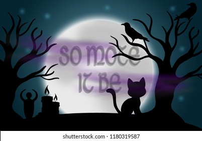 "Beautiful glowing moon and stars with the words ""so mote it be"" in the centre, surrounded by silhouetted trees, ravens, candles, a goddess statue, a cat, and fog."