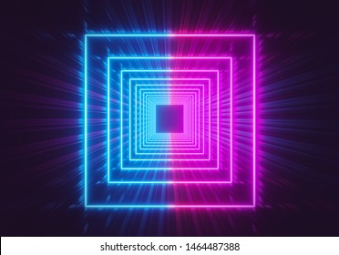 beautiful Glowing neon lights square tunnel abstract background. pink and blue vibrant colors. 3d rendering
