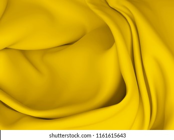Beautiful Gold Satin for Drapery Abstract Background. Yellow Silk Fabric. 3d rendering illustration.