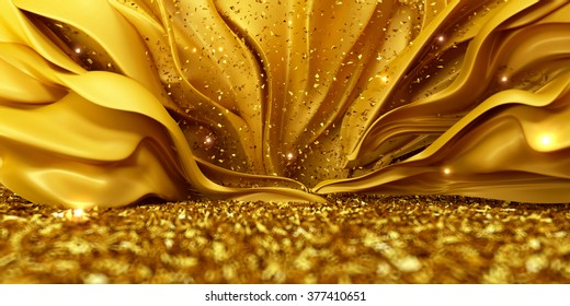 Beautiful golden background with growing tissue and iskrinkami