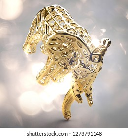 Beautiful golden elephant 3d realistic illustration render with bright lights on the back and sides