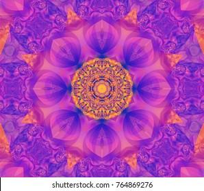 Beautiful golden kaleidoscope seamless illustration. Bright flower.