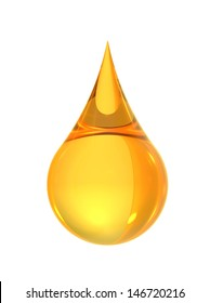 Beautiful golden oil droplets on a white background created from computer graphics for use as logos, articles or articles about oil