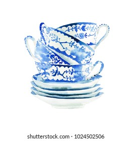 Beautiful graphic lovely artistic tender wonderful blue porcelain china tea cups pattern watercolor hand illustration. Perfect for textile, menu, wallpapers