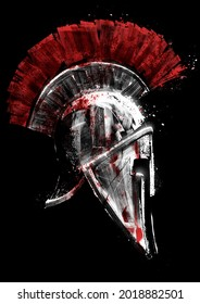 A beautiful Greek painted shiny helmet of an experienced Spartan, it is chipped with scratches and dents, it is filled with spots of fresh red blood painted with textural brushes in white on black 2d