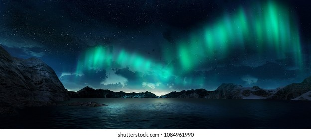 A beautiful green and red aurora dancing over the hills. 3d render