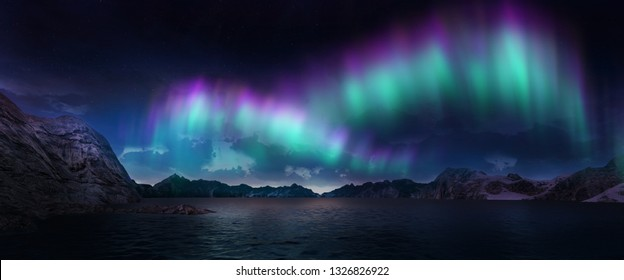 A beautiful green and red aurora dancing over the hills. 3D illustration.
