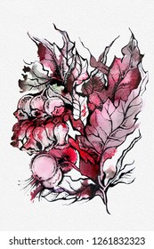 Beautiful hand drawn floral composition, watercolor and graphic