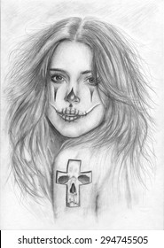 Beautiful hand drawn sketch girl portrait with tattoo. Pencil picture.  Chicano style tattoo. Tattoo sketch. Day of The Dead Woman with Sugar Skull Face Paint