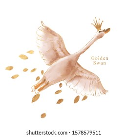 Beautiful hand drawn watercolor flying swan with gold foil contour and falling golden leaves
