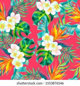 Beautiful hand drawn watercolor tropical flowers seamless pattern