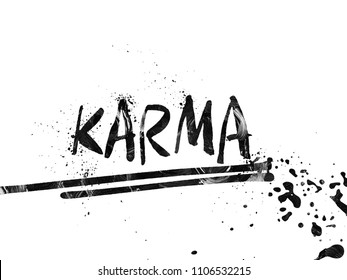 A Beautiful Hand lettering Illustration. Karma Typo. Karma Logo