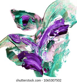 Beautiful hand painted abstract design element ?green and violet colors