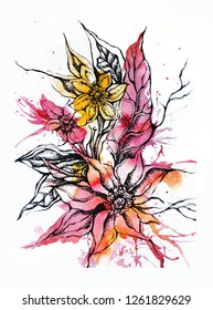 Beautiful hand painted floral composition on white background, watercolor and graphic