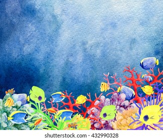 Beautiful hand painted watercolor mockup clipart template background of underwater world and coral reefs