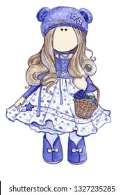 Beautiful handmade doll is ideal for the needlewoman's logo.
