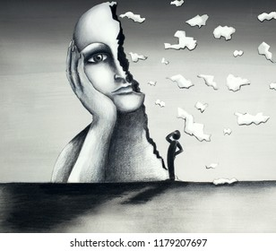"""Beautiful hand-made illustration on cardboard in a mixed-media tecnique representing a surreal image of a face of a giant woman with a half-face falling apart and a stylized little man observing the """""""