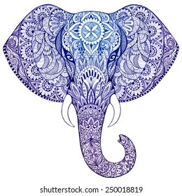 Beautiful hand-painted elephant with ornament. Tattoo elephant with patterns and ornaments