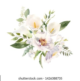 Beautiful handpainted watercolor floral arrangement. Bouquet of white flowers - calla lilies, peonies, freesia decorated with greenery foliage. Perfect clipart for wedding invitation, greeting cards,