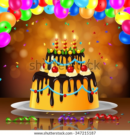 Beautiful Happy Birthday Cake On Artistic Stock Illustration