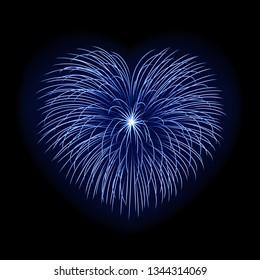Beautiful heart-firework. Bright romantic firework, isolated on black background. Light love decoration salute for Valentine Day celebration. Symbol of holiday, wedding. illustration