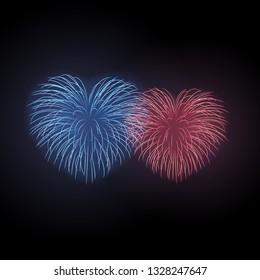 Beautiful heart-fireworks set. Bright romantic fireworks isolated on black background. Light love decoration salute for Valentine Day celebration. Symbol holiday, wedding illustration