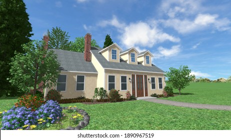 Beautiful house with blue sky and garden decorated with trees, perfect for real estate.