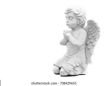 Beautiful Illustration Art of Sitting Baby Angel, Isolated on White Background with Copy Space for Text, Included Clipping / Selection Path.