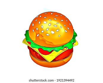 Beautiful illustration of cheese burger isolated on plain white background