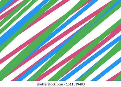 Beautiful illustration of colorful lines and stripes of green pink and blue on white background for cute and sweet paper background. Lovely wallpaper and festive decoration