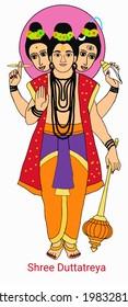 A beautiful illustration of Lord vishnu's Duttatreya incarnation