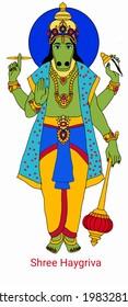 A beautiful illustration of Lord vishnu's haygriva incarnation