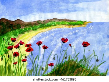 Beautiful illustration of sea, yellow shore and red poppy with green trees