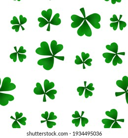 Beautiful illustration of a seamless pattern from a bright textured shamrock on a white background. Floral background of clover leaves for your festive design, print, invitation, greeting cards.