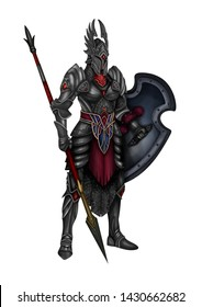 Beautiful illustration of a warrior in armor with a sword.