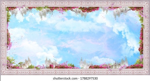 Beautiful image for the ceiling with stucco, pink flowers, clouds and petals..  Digital collage, mural and mural. Wallpaper. Poster design. Modular panel. 3d render