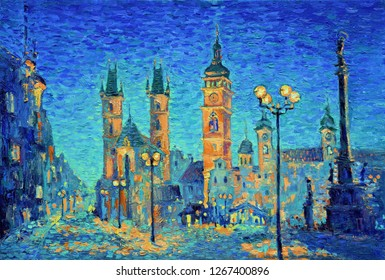 Beautiful impressionism-style cityscape oil painting. Old town square in the evening, blue evening colors and orange lights painted with bright strokes