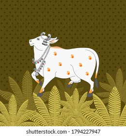 A Beautiful Indian Cow Pichwai Painting Print for Wall Decoration
