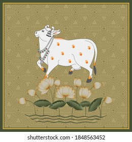 A Beautiful Indian White Cow Painting with Ethnic Background Pattern and Lotus for Home Decore Artwork.