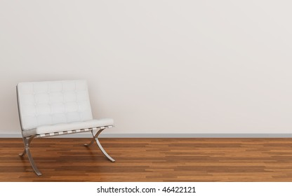 Beautiful interior with modern white chair