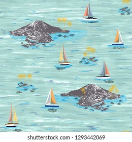 Beautiful island and sailing ship pattern. Summer trends bright colorful island pattern on light green background. Landscape with palm trees, beach, sailing ship and ocean brush hand drawn style.